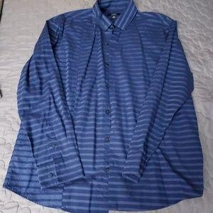 Alfani Blue with blue horizontal button down shirt